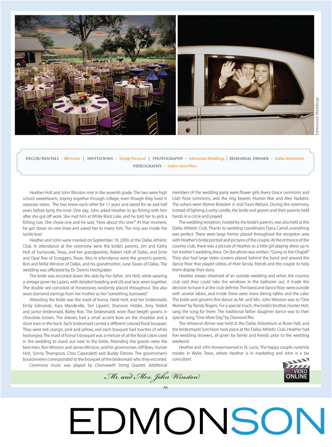 Dallas Athletic Club Wedding Reception Magazine Feature