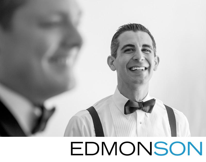Groomsman Laughs At Crescent Wedding in Dallas, Texas