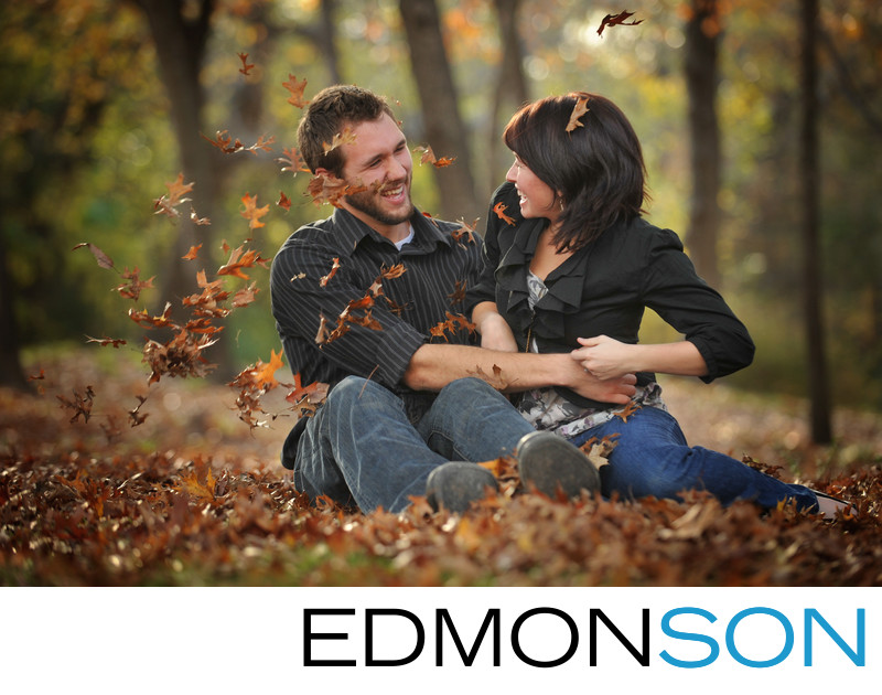 Park Cities Couple's Playful Fall Engagement Photo