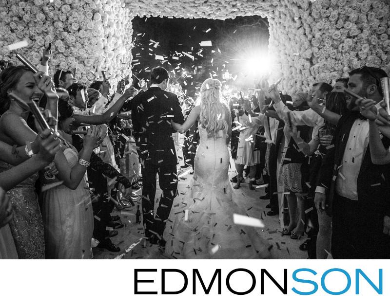 Confetti Wedding Exit Through Massive Floral Entrance