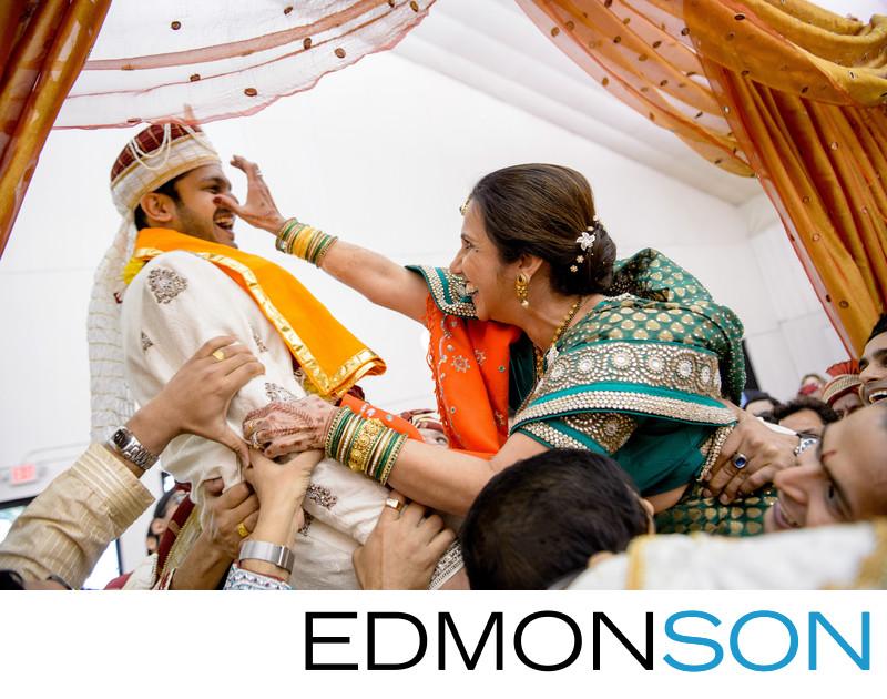 Gujarati Indian Wedding Mom Playfully Grabs Jaan's Nose