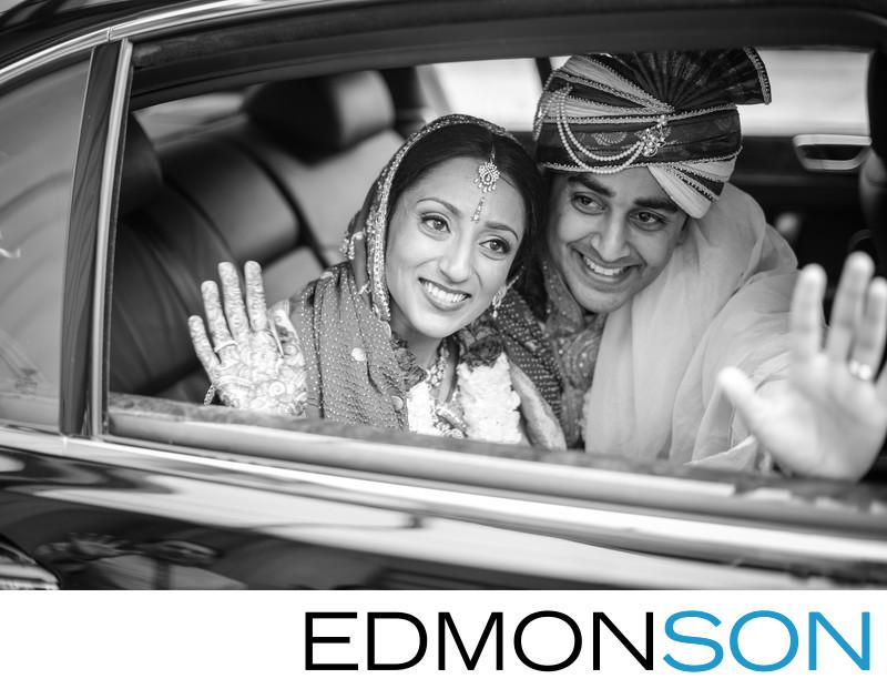 Indian Wedding Couple Waves Goodbye Ritz-Carlton Dallas