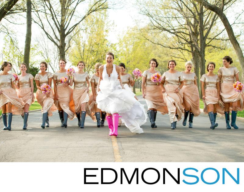 Springtime Pink Hunter Boots For Southern Hills Bride