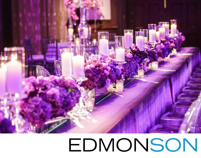 Purple Head Table Awaits Guests At Dallas Country Club