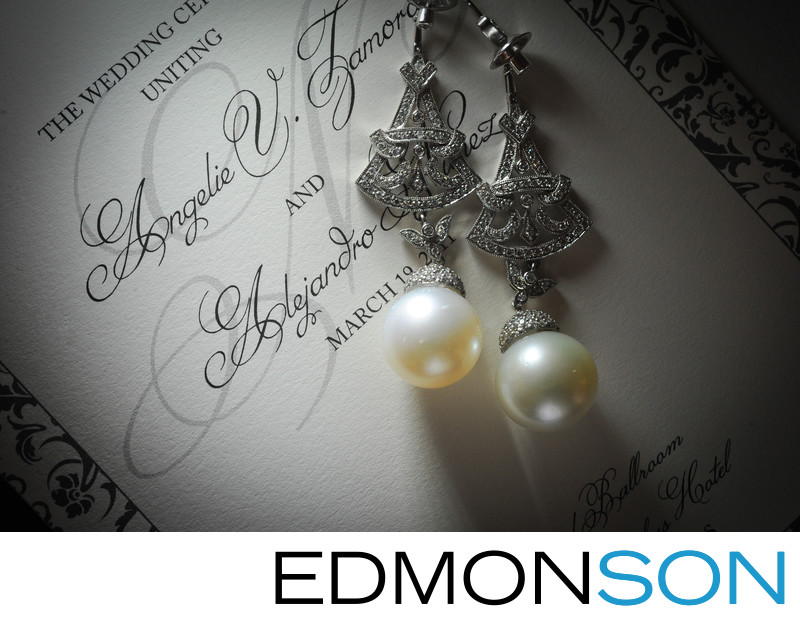 Wedding Details Of Pearl Earrings At Crescent