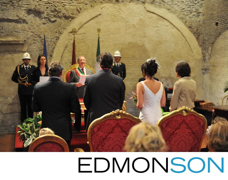 Cilvil Ceremony Underway For Rome, Italy Wedding