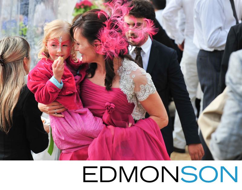 Wedding In Rome, Italy As Bride Carries Flowergirl