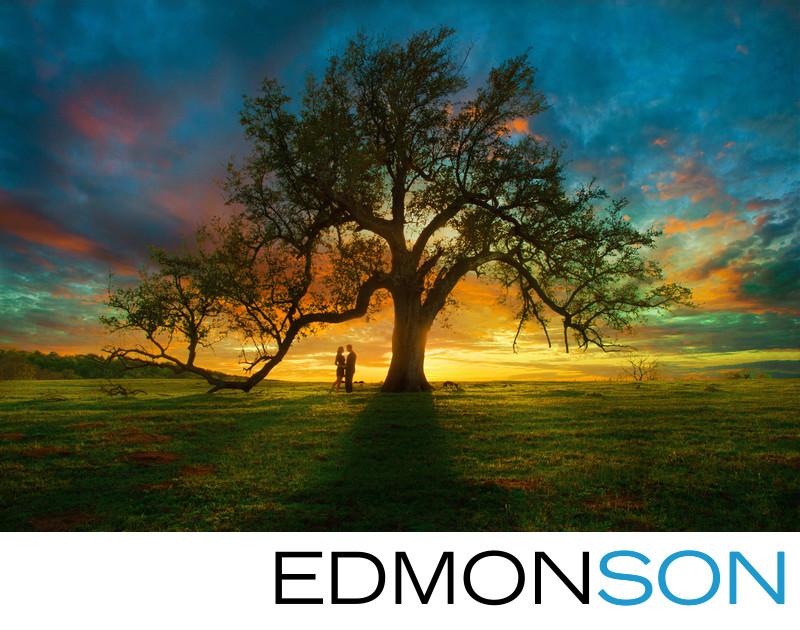 Epic Engagement Photo At Sunset Under Live Oak