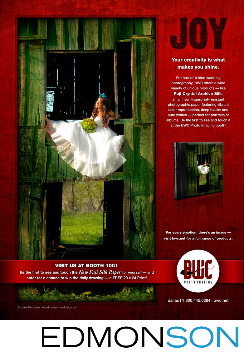 BWC Full Page Ad Of Bride In A Barn