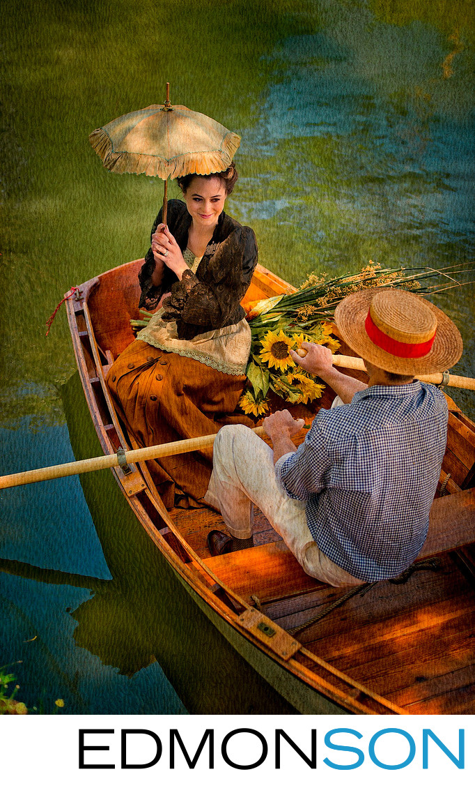 Woman With Parasol In Boat French Impressionist