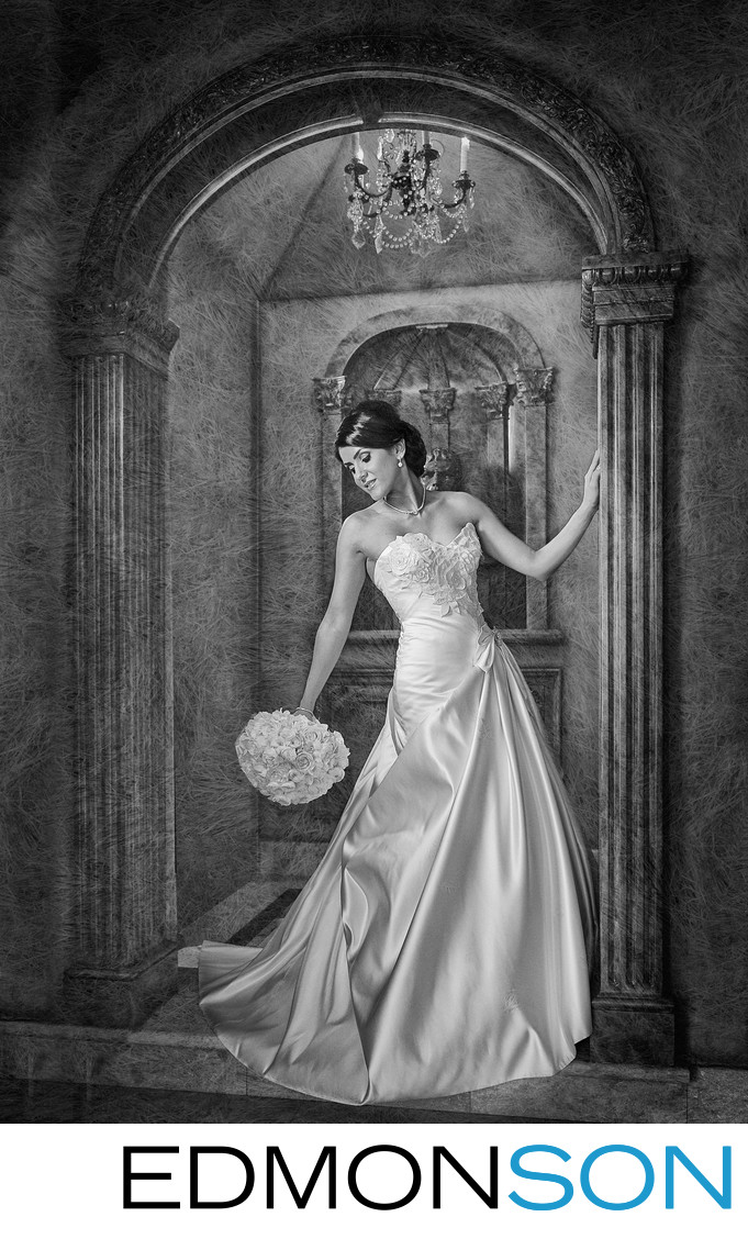 Elegant Persian Bride Black & White Bridal Portrait