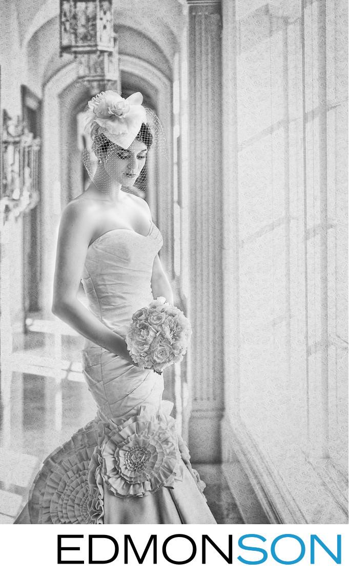 Stunning Black & White Bridal Portrait At Private Home