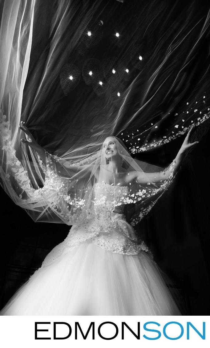 Flying Veil Creates Dramatic Bridal Portrait