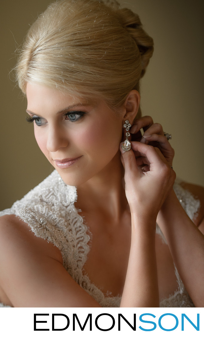 Gorgeous Bride Adjusts Earring At Four Season Dallas