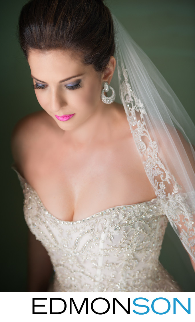 Radient Portrait of Bride Looking Down
