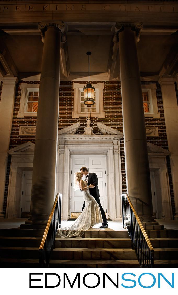 Gorgeous Nighttime Post-Wedding Portrait At Perkins SMU