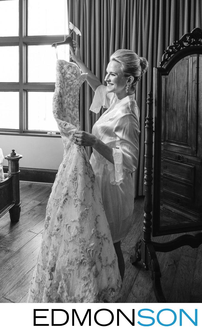 Happy Bride Preps Her Dress At Rough Creek Suite