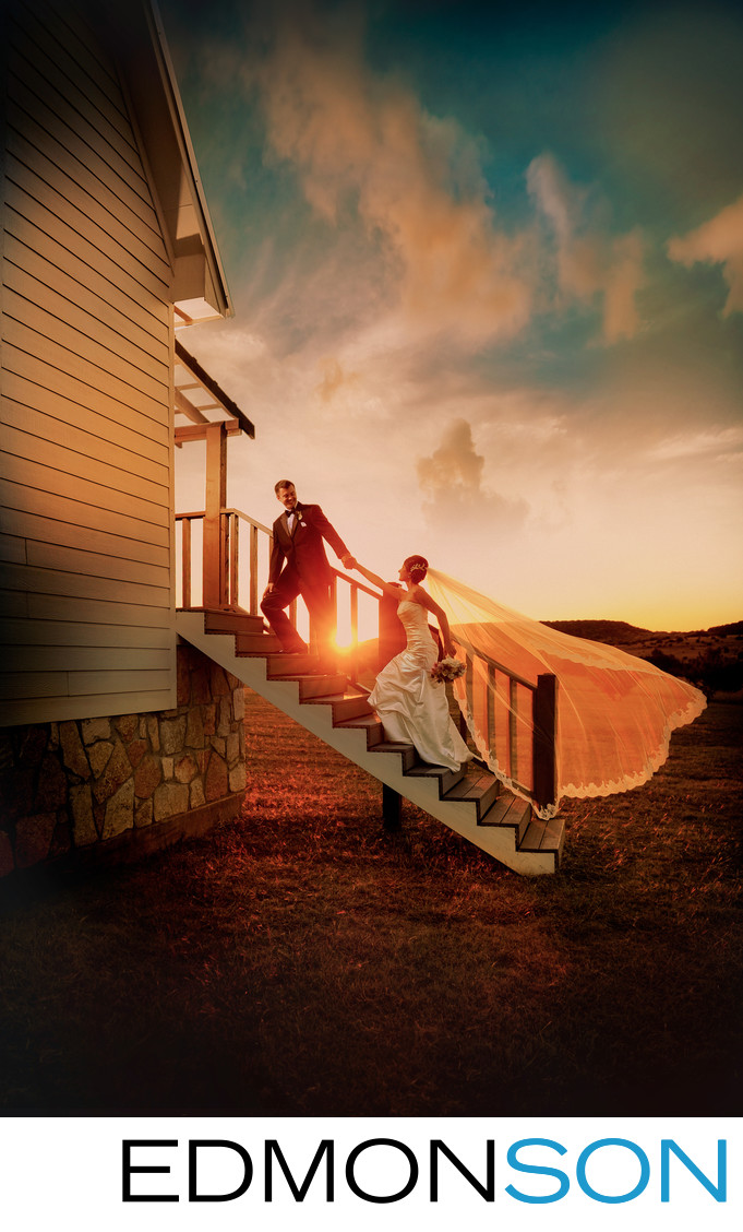 Sunset Wedding Photo At Rough Creek Chapel