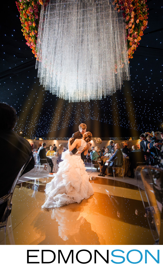 Huge Chandelier Transforms Tent During Epic First Dance