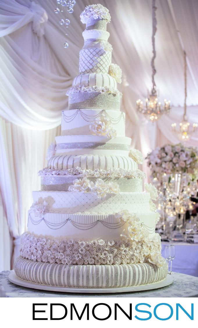 Amazing 12 Tier White Wedding Cake At Luxury Reception