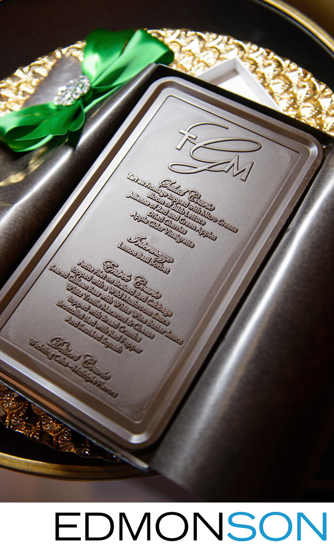 Delicious Chocolate Menu Cards At Wedding Reception