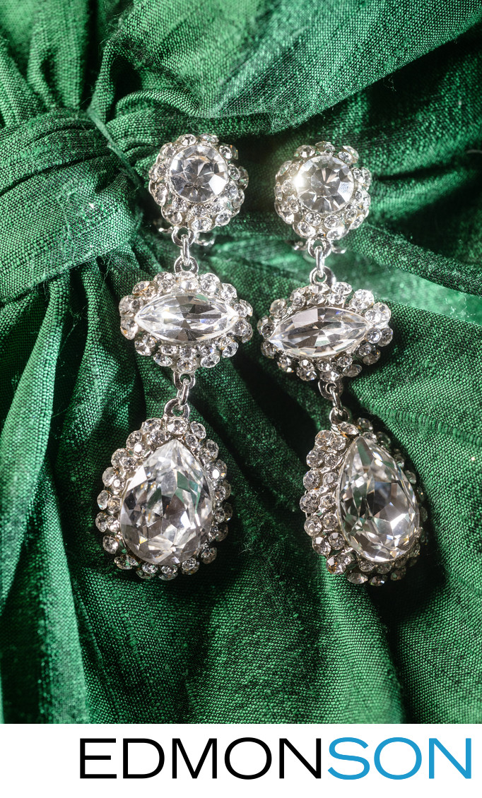 Diamond Earring Detail On Wedding Day At Hilton Anatole