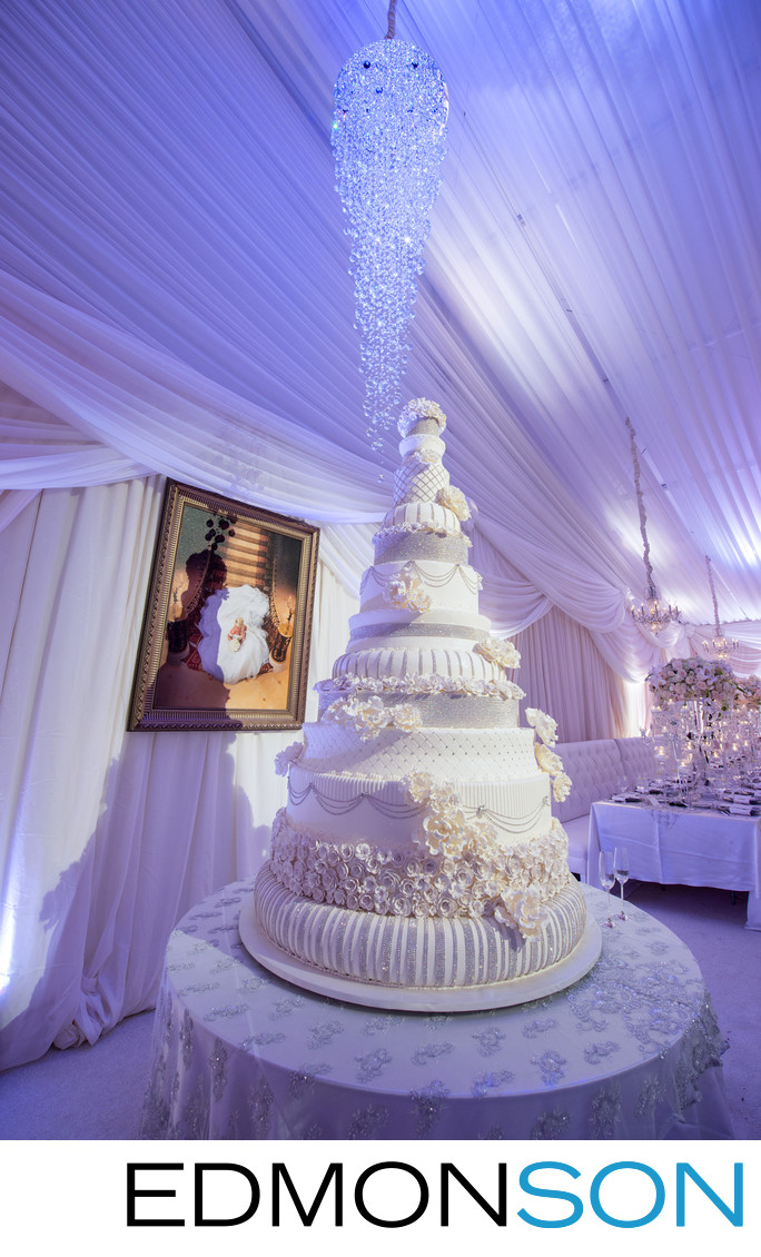 Massive White Wedding Cake Karen Tran Floral Designs