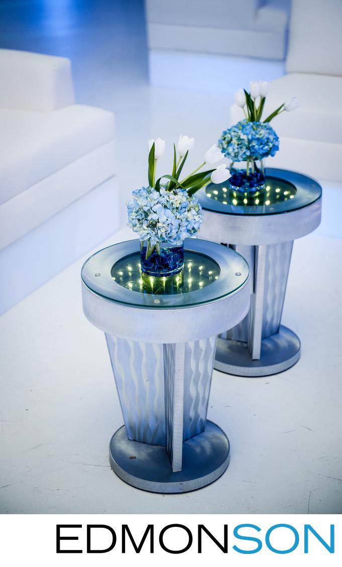 Blue Flowers At Dallas Wedding Reception Detail