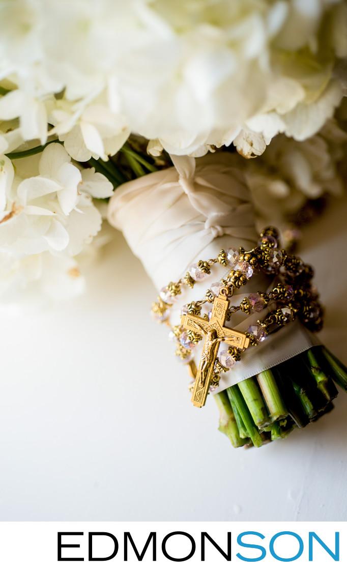 Catholic Wedding Bouquet Rosary Detail