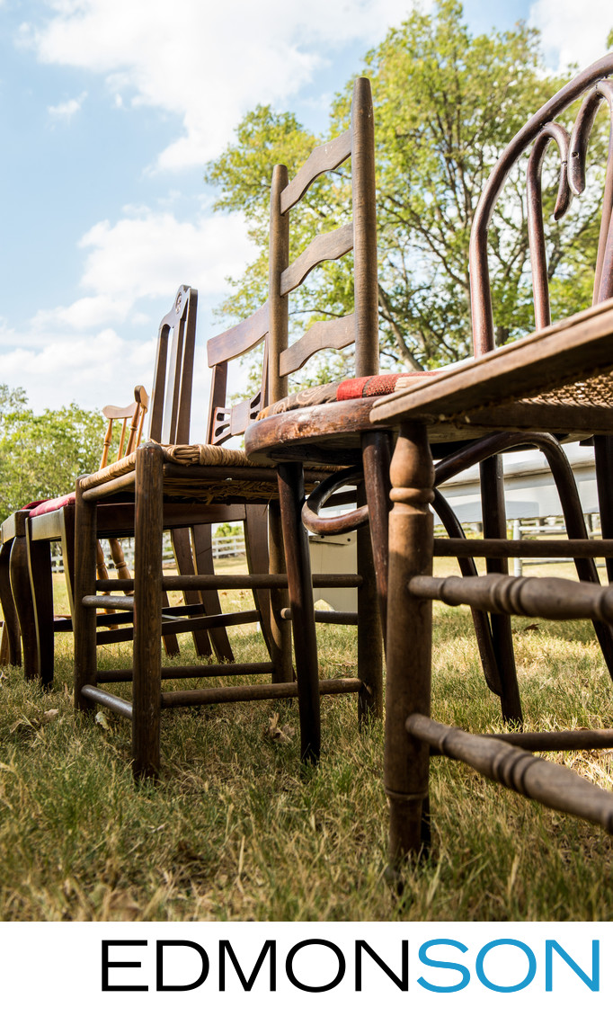 Rustic Wooden Chairs Await Guests at Texas Ranch