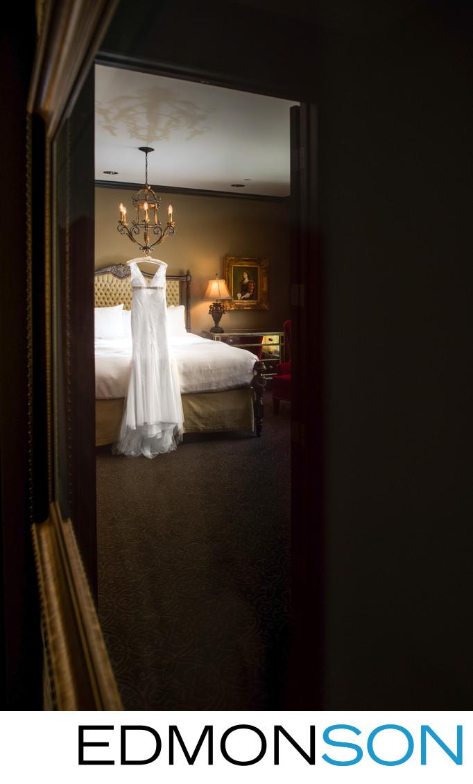 Wedding Dress Hangs In Magnificent 7 Last Czar Suite
