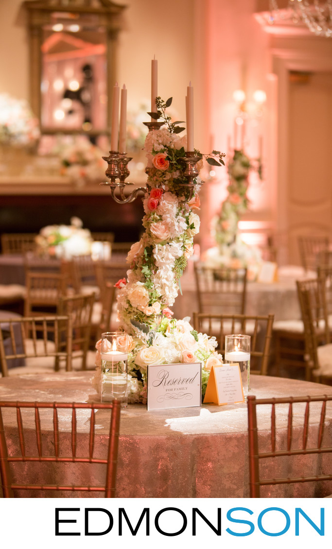 Flower Candelabra Centerpiece At Arlington Hall