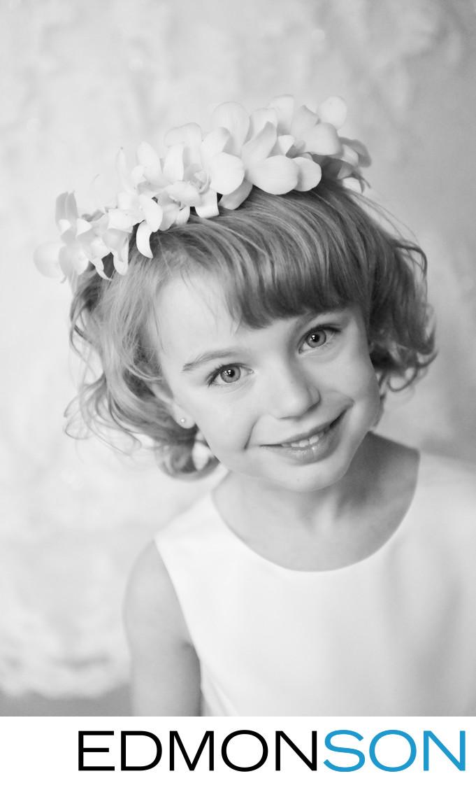 Sweet Flower Girl In Black & White At Dallas Wedding