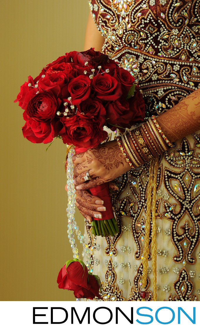 Indian Wedding Bouquet Of Red Roses