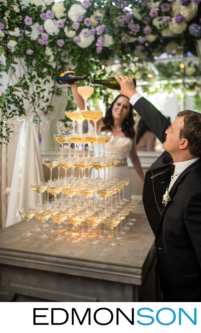 Champagne Tower Pour By Bride & Groom