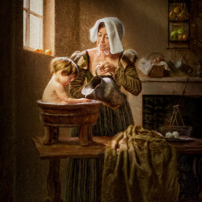 Vermeer Inspired Artist Transforms Mom & Daughter Photo
