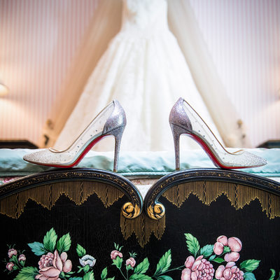 Wedding Shoes & Dress Hang In the Room She Grew Up In