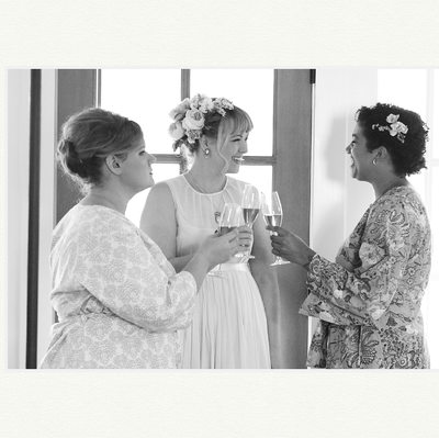 Bridesmaids Laugh At Los Poblanos Wedding