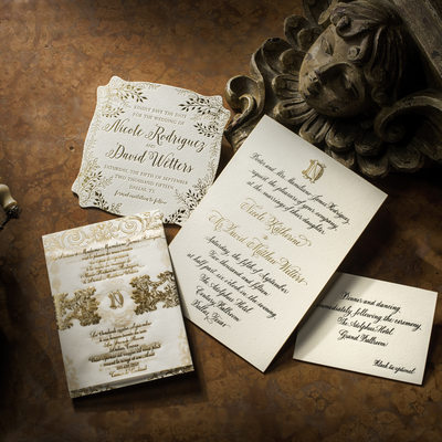 Wedding Invitations In Gold Foil Letterpress