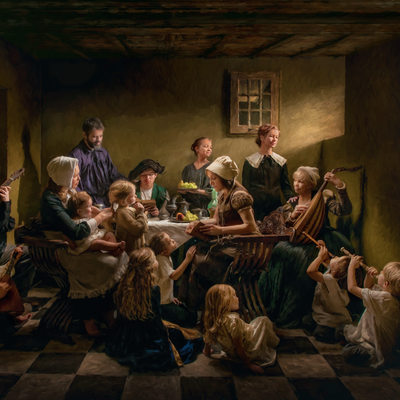 Caravaggio Inspired Family Portrait Masterpiece Photo