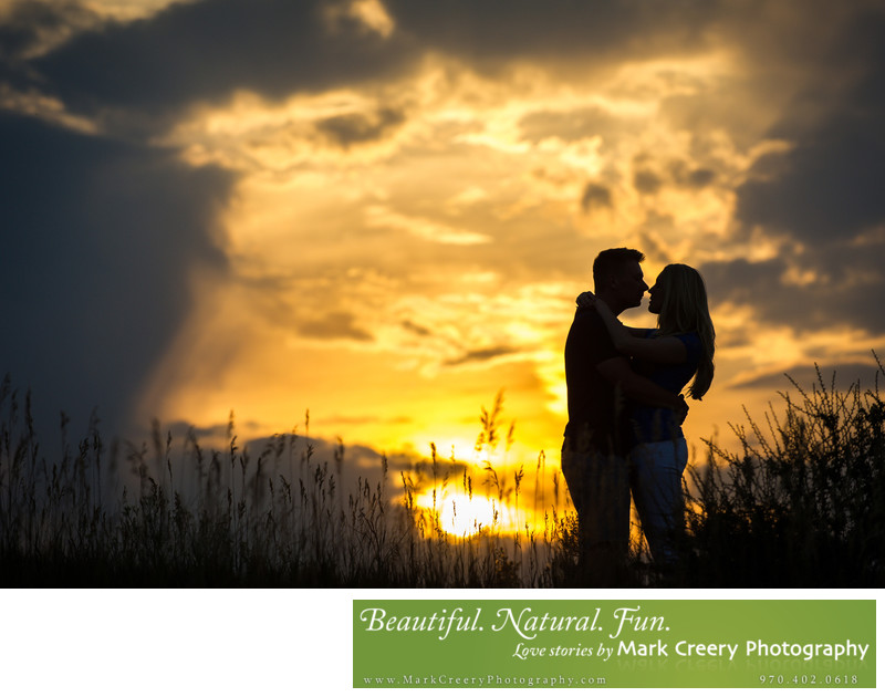 Sunset engagement photos in Fort Collins