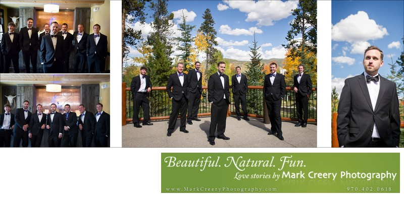 Groomsmen portraits Breckenridge Nordic Center wedding