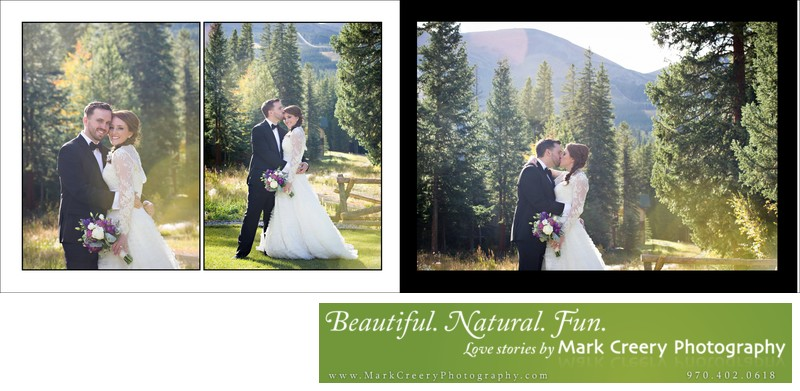 Bride & Groom kissing at Breckenridge Nordic Center