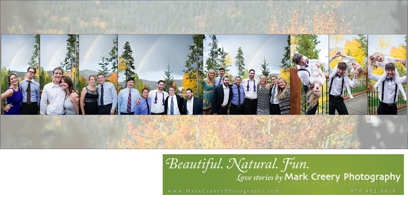 Rainbow reception pics at Breckenridge Nordic Center wedding