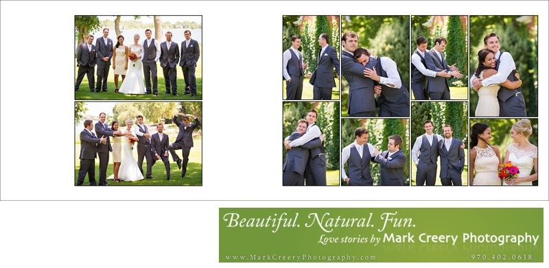 Bridal party goofing off in Fort Collins backyard wedding