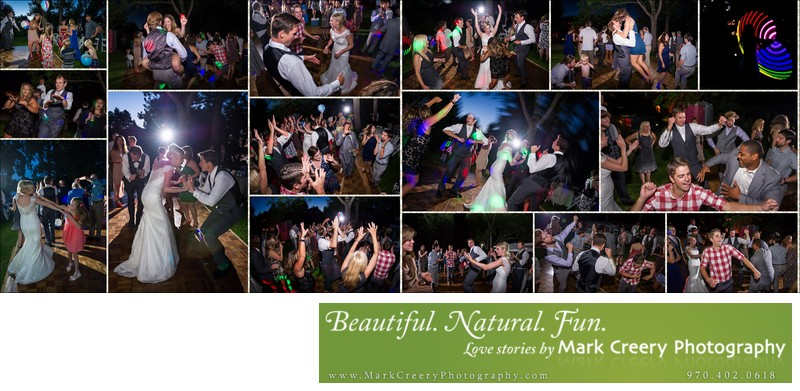 Dance party collage at Fort Collins backyard wedding