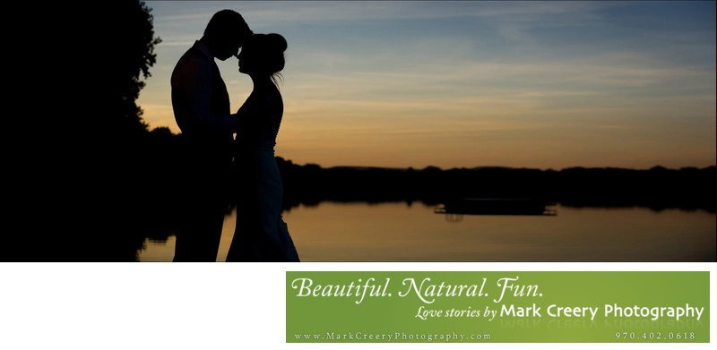 Sunset bride & groom silhouette at Fort Collins Country Club