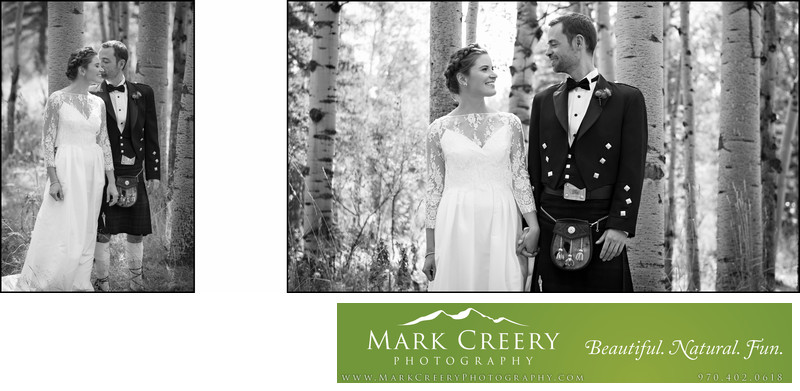 Black and whites of bride and groom smiling Perry Mansfield