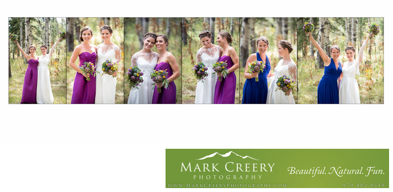 Bride with bridesmaids laughing at Perry Mansfield Performing Arts