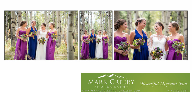 Bridesmaids & Bride having fun at Perry Mansfield wedding